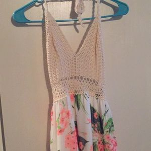 Crochet top maxi sun dress. Top is a halter top.